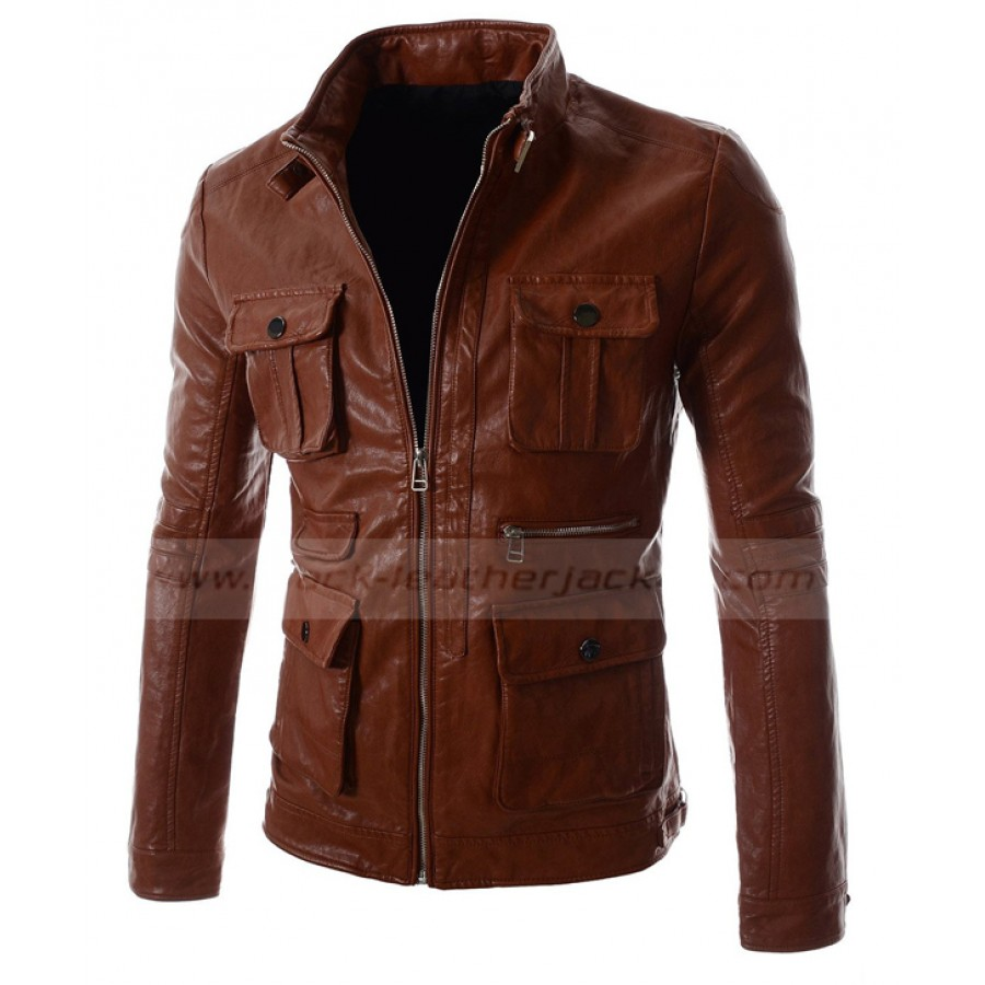 Outono-Mens-Faux-Leather-PU-bombardeiro-com-capuz-Jacket-preto-Brown