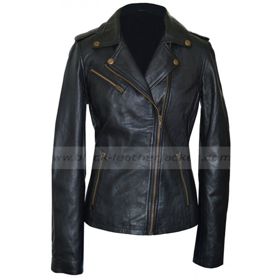 Black Leather Moto Jacket Women