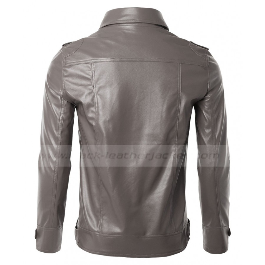 Slim Fit Biker Jacket | Mens Black Faux Leather Jacket