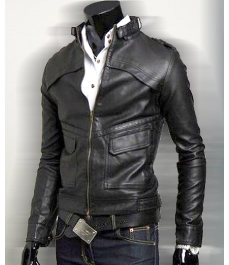 Home    Mens Biker Black Faux Leather Jacket With Hoodie