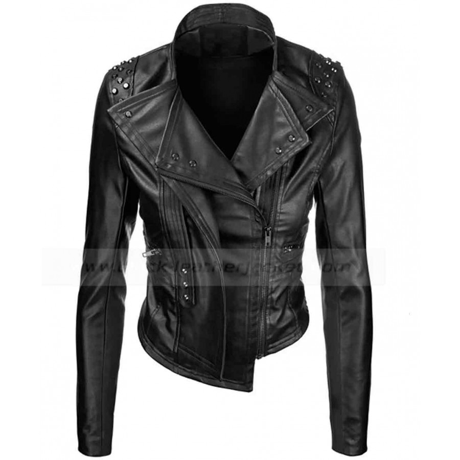 Home   Womens Black Faux Leather Motorcycle Rider Jacket