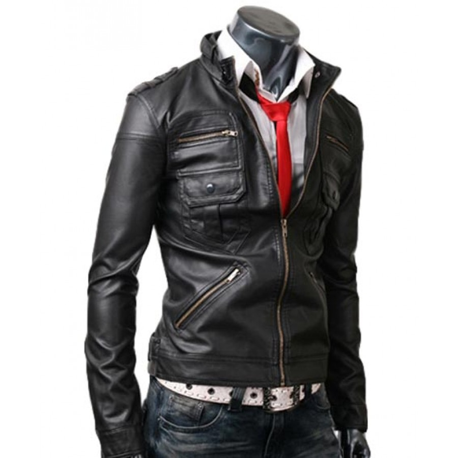 Home В» Zip Pocket Mens Slim Fit Black Leather Jacket