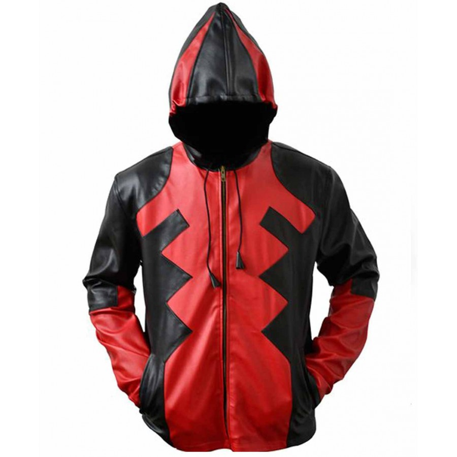 deadpool leather hoodie jacket