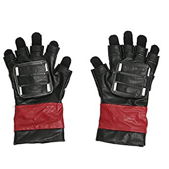 deadpool black fingerless gloves