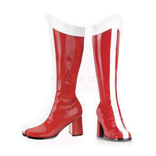 red & white womens boots