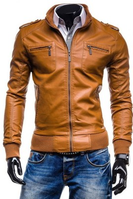 mens-brown-faux-leather-jacket