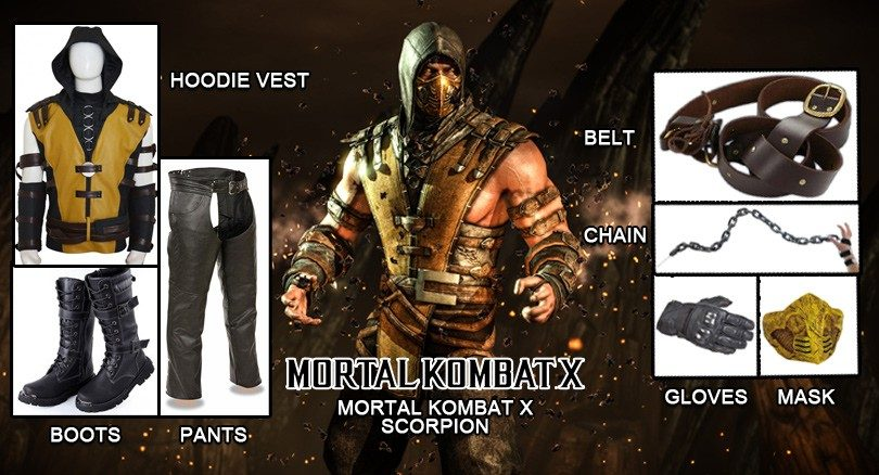 Stand Tall With Mortal Kombat Scorpion Costume Black Leather