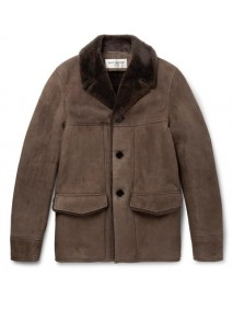 Brown Suede Coat with Fur
