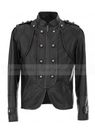 Carley Black Leather Military Jacket for Womens