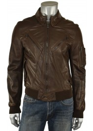 Men's Designer Casual Bomber Brown Leather Jacket