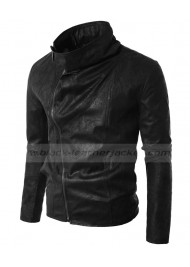 Mens Casual Rider Black Faux Leather Biker Jacket