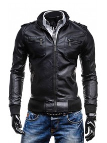 New Fashion Casual Slim Fit Black Leather Jacket for Men