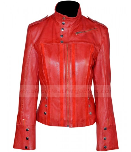 Casual Slim Fitted Red Leather Jacket Womens