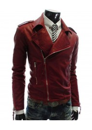 Casual Designer Mens Slim Fit Faux Leather Red Jacket
