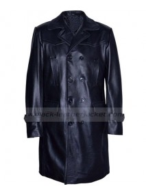 Mens Double Breasted Black Leather Trench Coat