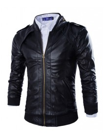 Mens Slim Fit Metal Zipper Black Faux Leather Biker Jacket