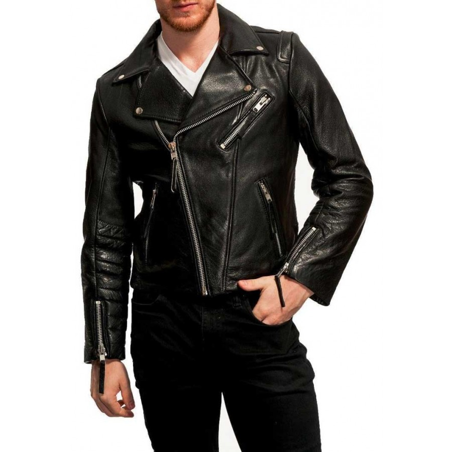 Men S 100 Real Lambskin Black Leather Moto Jacket Black Leather