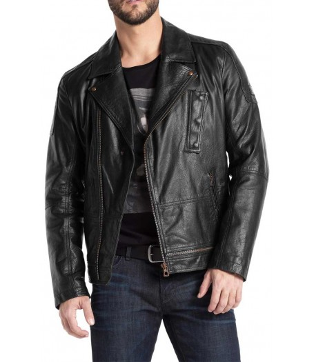 Men's 100% Real Leather Asymmetrical Zipper Moto Black Jacket