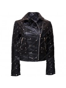 Women Denominator Studded Leather Jacket