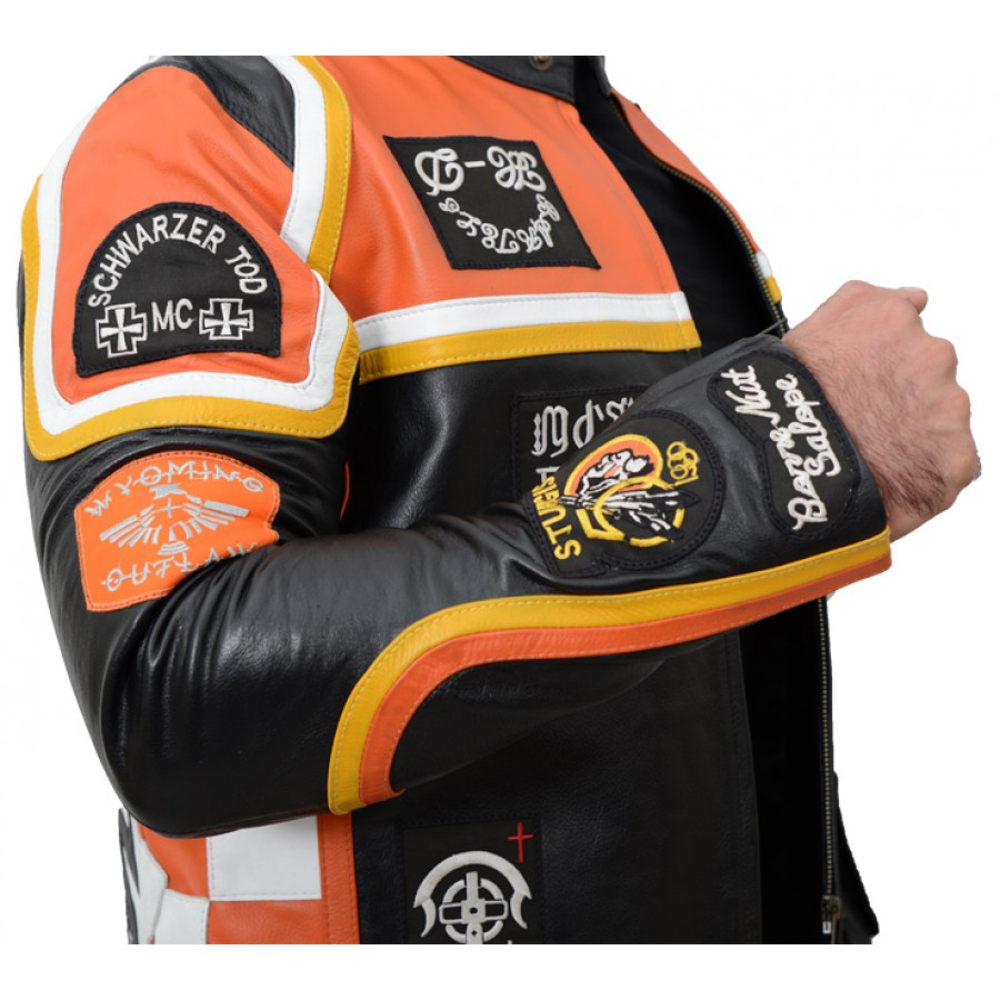 058450fa9 Biker Harley Davidson and The Marlboro Man Leather Jacket with Patches