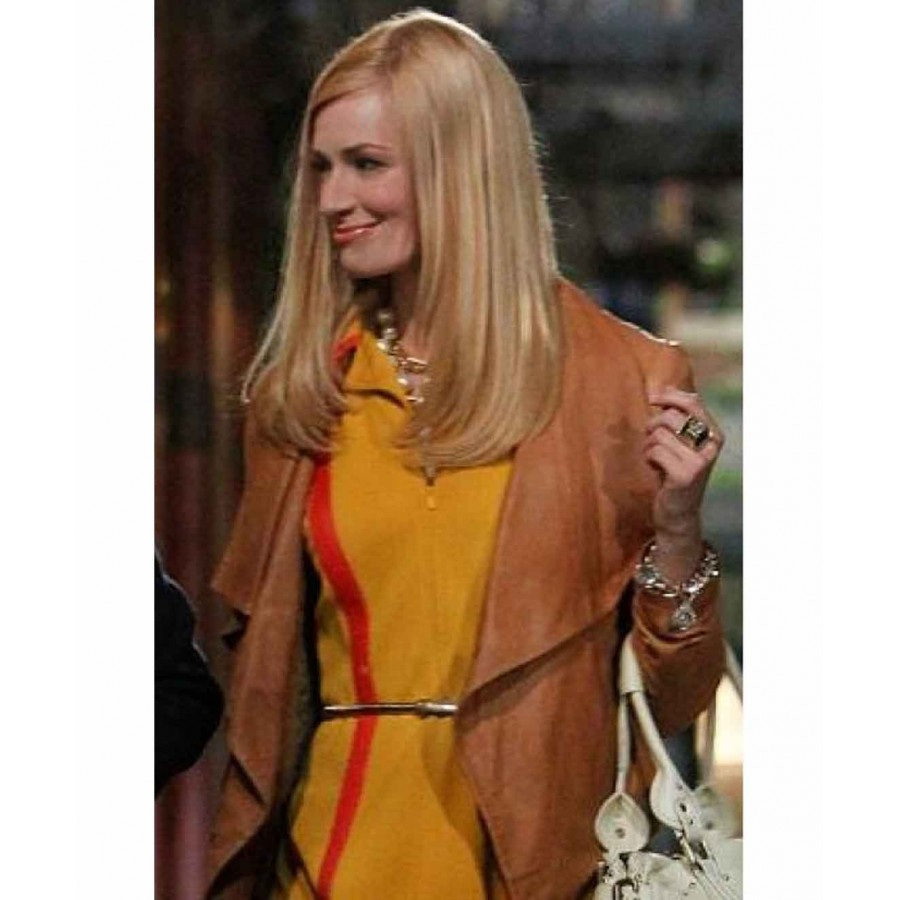 Caroline Channing Leather Jacket | 2 Broke Girls Brown Jacket