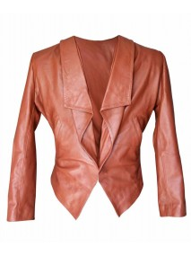 2 Broke Girls Brown Caroline Channing Leather Jacket