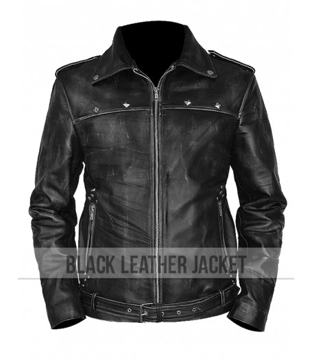 A Long Way Down Aaron Paul  Distressed Leather Jacket