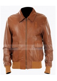 A2 Mens Brown Leather Bomber Jacket