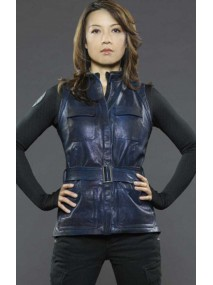 Ming‑Na Wen Agents of Shield Melinda May Blue Leather Vest