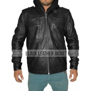 WWE AJ Styles Black Leather Jacket Hoodie