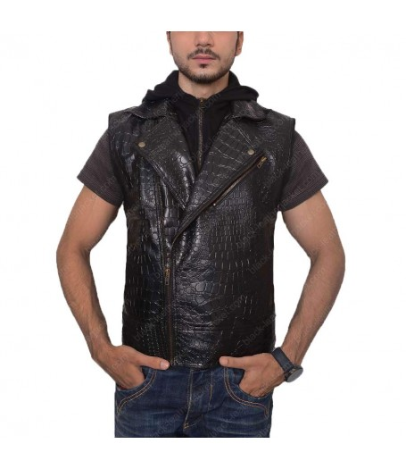WWE AJ Styles Quilted Vest with Hoodie