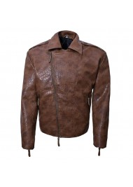 Alligator Brown Leather Biker Jacket