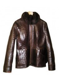Alligator Leather Jacket With Fur