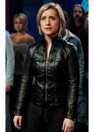 Allison Mack Smallville Chloe Sullivan Black Leather Jacket