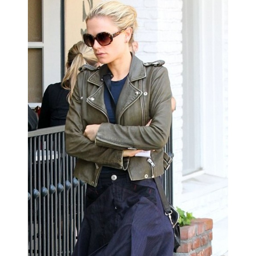 Womens Olive Green Leather Jacket | Anna Paquin Cropped Jacket