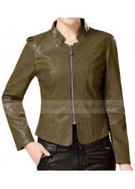 Army Green Leather Jacket for Women