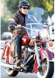 Arnold Schwarzenegger Brown Leather Motorcycle Jacket