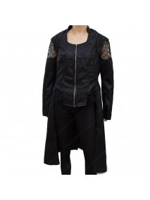 Kattie Cassidy Arrow Black Siren Leather Coat
