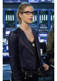 Felicity Arrow Season 5 Emily Bett Rickards Leather Jacket
