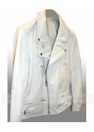 Ashes To Ashes Keeley Hawes White Leather Biker Jacket