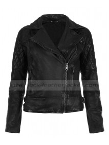 Ashley Greene Black Leather Quilted Biker Jacket