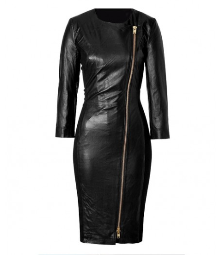 Ashley Roberts Leather Dress Ladies Black Coat