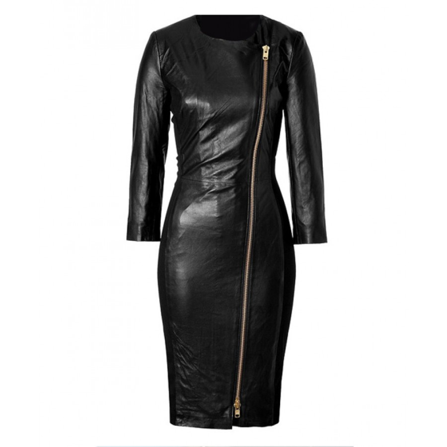 Ashley Roberts Leather Dress | Ladies Black Coat