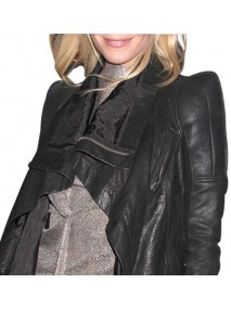 Gwyneth Paltrow Asymmetrical Black Leather Jacket