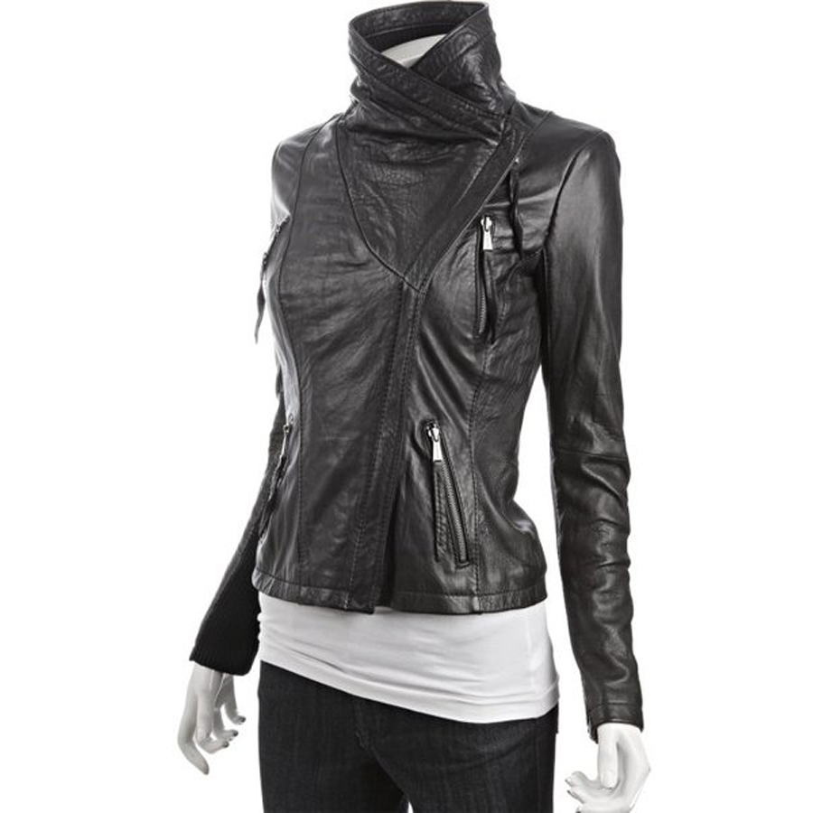 Asymmetrical Leather Jacket | Women Black Leather Jacket