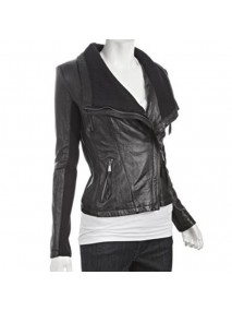 Asymmetrical Black Leather Jacket