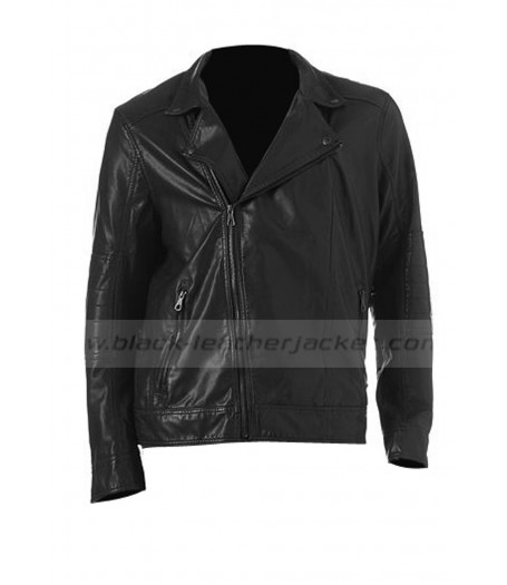 Asymmetrical Style Black Faux Leather Moto Jacket Mens