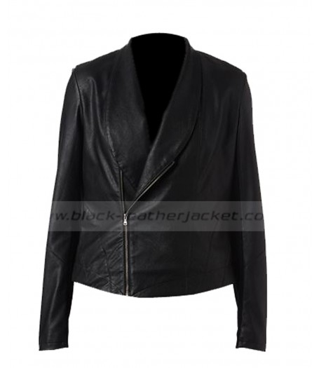 Asymmetrical Black Faux Leather Motorcycle Jacket for Women