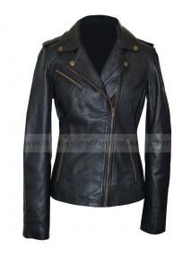Asymmetrical Womens Black Leather Motorcycle Jacket
