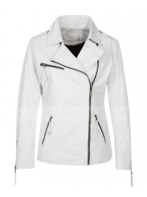 Asymmetrical Womens White Leather Motorcycle Jacket